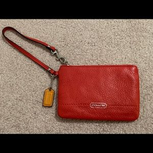 Small Red Coach Wristlet